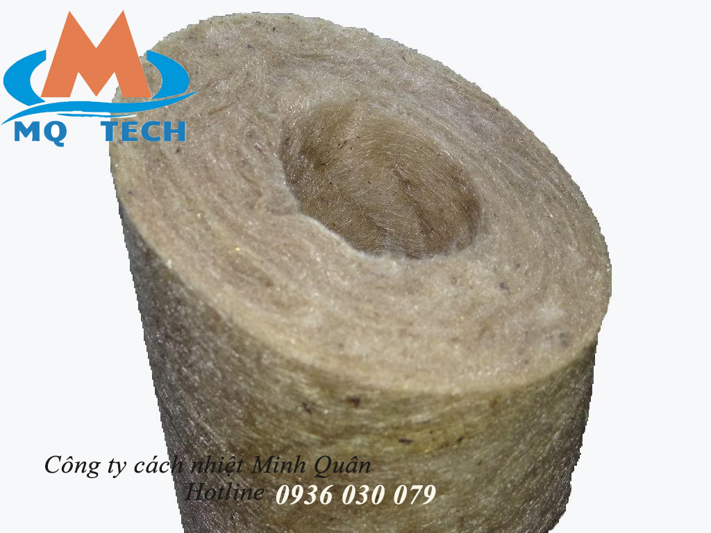ống bông khoáng rockwool định hình không bạc cách nhiệt