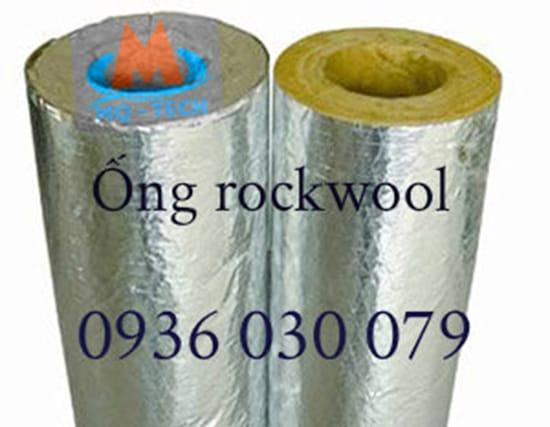 Bông khoáng rockwool hình ống có bạc cách nhiệt bảo ôn