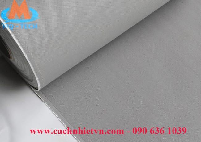 vải silicone màu ghi xám chống cháy